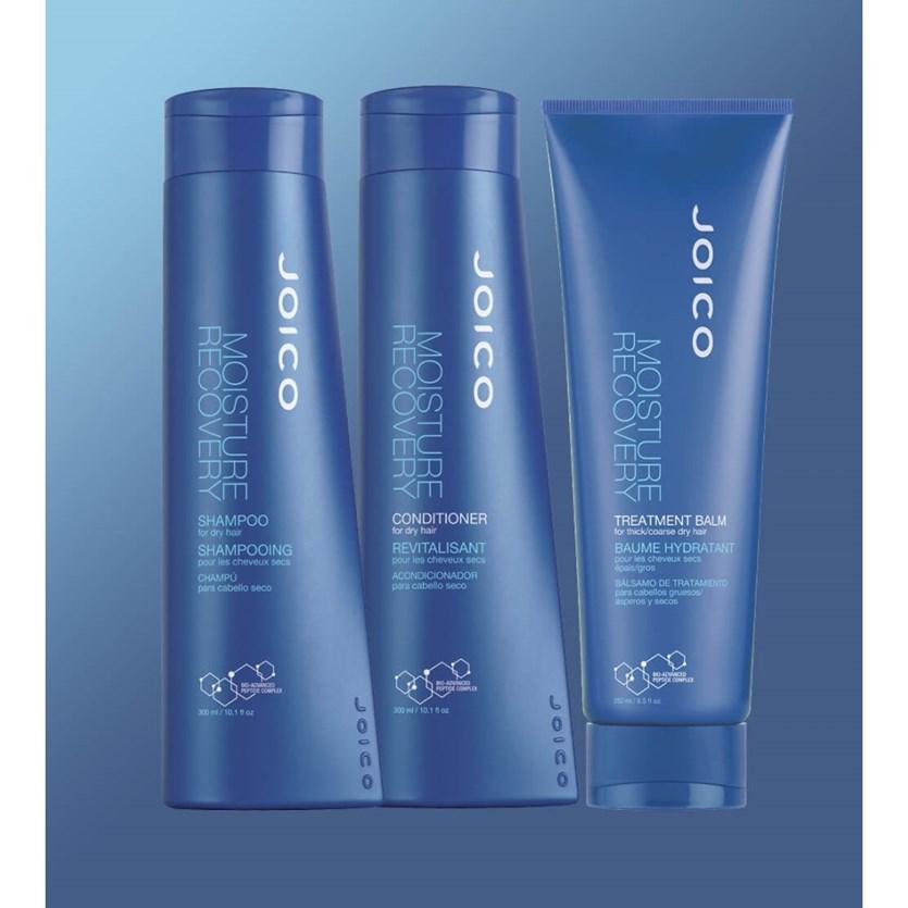 Kit Triplo Joico Moisture Recovery para Hidratar Cabelos Secos (Shampoo + Condicionador + Máscara)