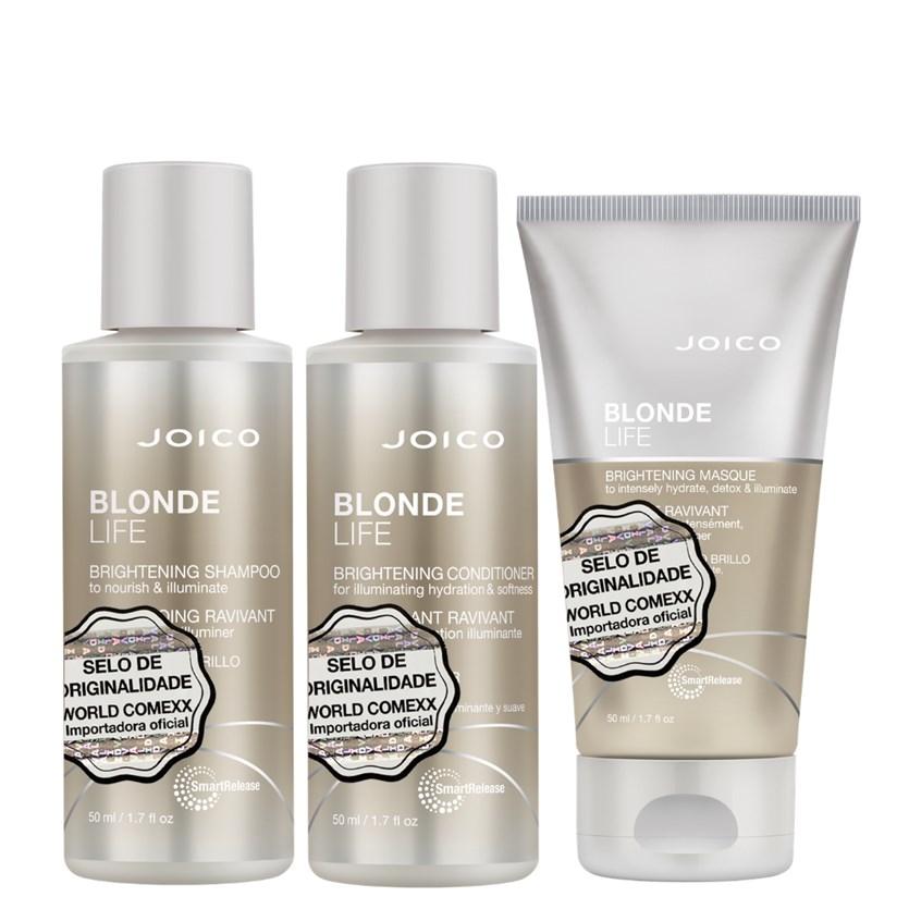 Kit Triplo Mini Joico Blonde Life Shampoo, Condicionador e Máscara
